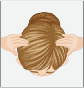 Scalp massage for hair loss; step two